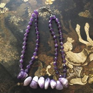 Huge amethyst necklace with sterling silver clasp